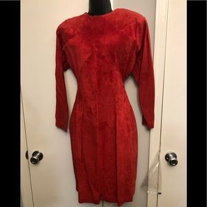 Red 100% Genuine Leather Dress (6)